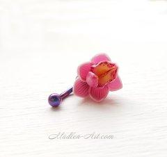 navel piercing with Orchid, flowers bellyring, handmade jewelry / пирсинг в пупок с орхидеей, пирсинг с цветами, украшения ручной работы