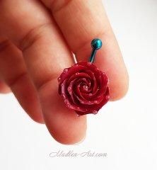navel piercing with rose, flowers bellyring, handmade jewelry / пирсинг в пупок с розой, пирсинг с цветами, украшения ручной работы