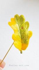 Брошь с листиком дуба, авторские украшения ручной работы /  Brooch with oak leaf, author