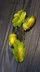 Oak earings, handmade jewelry / Серьги с листьями дуба и желудями, авторские украшения с дубом, талисманы