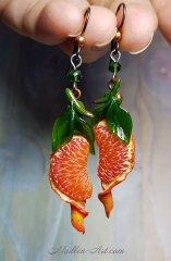 Сочный цитрус, украшения с мандаринами, серьги с  мандаринами, ягодные украшения /  Juicy citrus, jewelry with tangerines, mandarin earings, berry jewelry