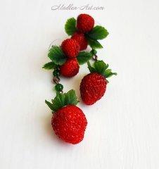 berry jewelry, berry earrings, strawberry earrings, strawberry jewelry, wedding jewelry /ягодные украшения, ягодные серьги, серьги с земляникой, украшения с земляникой, свадебные украшения, украшения с клубникой, серьги с клубникой