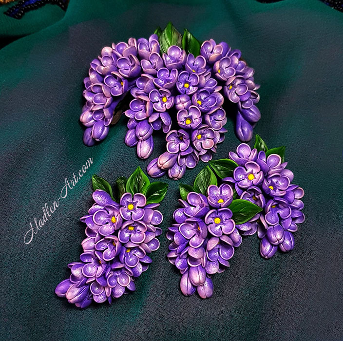 jewelry with lilac, designer jewelry with flowers, handmade flowers, wedding jewelry, custom jewelry, talismans